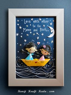""" Sailing in the moonlight on a yellow boat "" couple Quilling Dolls, 3d Quilling, Paper Quilling Cards, Paper Quilling Patterns, Quilling Photo Frames, Paper Quilling For Beginners, Art And Craft Videos, Puppet Crafts, Painted Paper"