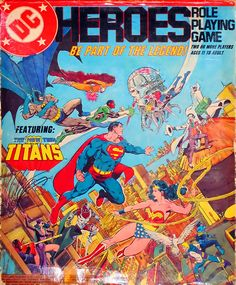 Mayfair DC Heroes RPG Box Set 1985 First Edition - art by George Perez. Game mechanics were way better than Marvel, but at the time (and to this day) I was more of a Marvel characters guy.