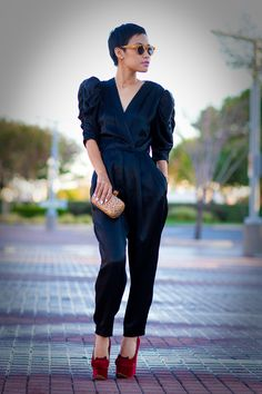 Vintage jumpsuit, Alexander McQueen clutch, Charlotte Olympia cat face wedges and Illesteva sunnies