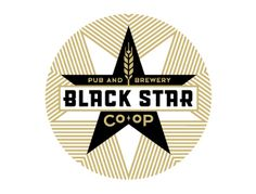 Black Star Co-op. It's the world's first beer cooperative. The rotating beer selection is great, but don't miss the Black Star brews. You can't get them anywhere else, and the Vulcan IPA is great. Typography Logo, Logo Branding, Branding Design, Stationery Design, Brand Identity, Beer Packaging, Star Logo, Brew Pub, E Design