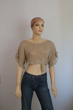 Ready to ship Knit  Crochet Lace Beige Cotton  by levintovich, $89.00