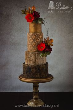 Autumn's Glow - cake by Bellaria Cake Design Fall Wedding Cakes, Beautiful Wedding Cakes, Gorgeous Cakes, Wedding Cake Designs, Amazing Cakes, Autumn Wedding, Fancy Cakes, Cute Cakes, Pretty Cakes