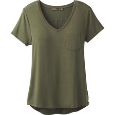 Prana Women's Foundation SS V Neck Top (59 AUD) ❤ liked on Polyvore featuring tops, t-shirts, shirts, cargo green, v neck pocket t shirts, v neck pocket tee, short sleeve v-neck tee, short sleeve pocket tee and green tee
