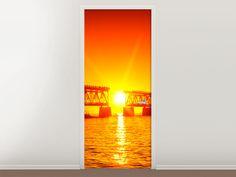 Tür #Tapete Sonnenuntergang an der Brücke