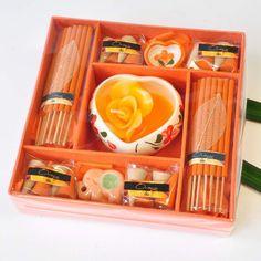 Duftstäbchen Räucher Kerzen Spa-Set Orange