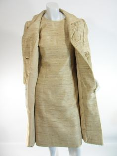Vintage 60s Gold Dress & Coat Set Jackie O Style by Dan Millstein by Better Dresses Vintage