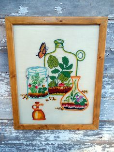 Vintage Crewel embroidery Picture