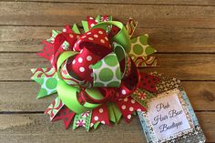 Christmas hair bow , red lime green and white Christmas bow , Christmas hairbow , funky Christmas Hair Bows, Green Christmas, Christmas Wreaths, Christmas Ornaments, Pink Hair Bows, Grosgrain Ribbon, Burlap Wreath, Lime, Crafty