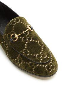 e316dd88cc1 Gucci Jordaan logo-jacquard velvet loafers Gucci Jordaan
