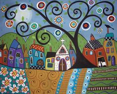 RUG HOOK PAPER PATTERN Polka Dot Church ABSTRACT FOLK ART PRIMITIVE - Karla G | eBay