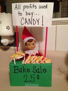 bake sale ideas Oh, who does't love a good bake sale!MATERIALS NEEDED:- Paper- Marker- Skewers- Mini Cookies or other bake sale treats (Barbie food would work, too! Elf Goodbye Letter, Bad Elf, Awesome Elf On The Shelf Ideas, Elf Magic, Elf On The Self, Frederique, Naughty Elf, Buddy The Elf, Bake Sale