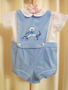 Vintage 60s Baby Boy Blue Overalls Jumpsuit
