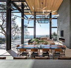 #diningroom #openplandining #woodceiling #glasswalls #lighting #fireplacewall Sweet Home, Wood Ceilings, Open Plan, Architecture, Land Scape, Dining Table, Dining Rooms, Living Spaces, Contemporary