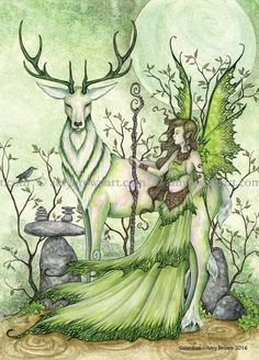 5x7 Guardian fairy and stag PRINT by Amy Brown