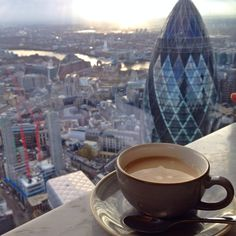 Best view In London at Duck and Waffle. Great food too!