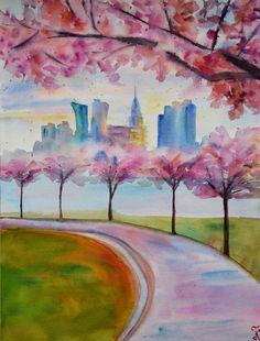 New York painting, Sakura flowers original watercolor painting, spring Manhattan picture, romantic gift New York Painting, Watercolor Artwork, Watercolour, Spring In New York, New York Poster, Painting Prints, Art Prints, Nyc, Original Paintings