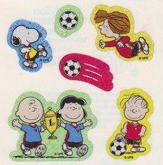 Vintage Rare Glittery Snoopy Peanuts Gang Soccer por STICKERPLANET