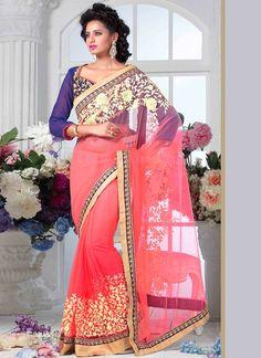 Voguish Pink Net Saree