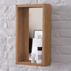 Miroir de salle de bain en teck massif 55x30cm Stelle