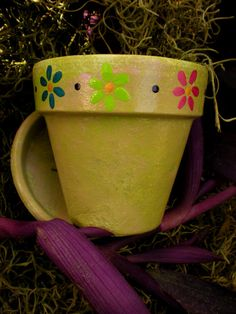 Rustic Sage Green Hand Painted Flower Pot