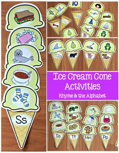 Ice cream activities for teaching rhyme and the alphabet. Great hands-on activities for centers! Speech Activities, Alphabet Activities, Hands On Activities, Therapy Activities, Toddler Activities, Teaching Resources, Kindergarten Literacy, Preschool Learning, Literacy Centers