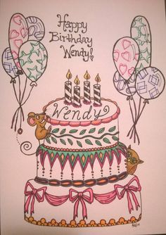 """Happy Birthday Wendy!!! Hope you like surprises so far ...this one's a lil diff, 'cause it was not just 'sent w/love"""" it was made with it! Hope you're having an awesome day my dear friend! Hugs! <3"""