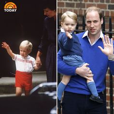 Prince William arriving at St. Mary's Hospital in 1984 to meet his baby brother, and Prince George in 2015 to meet his baby sister .