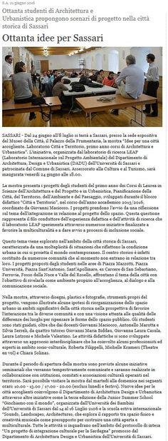 Sassarinews.it 24 giugno 2016 #CittaTerritorio #cittaccogliente #DADU #StudentiAaA