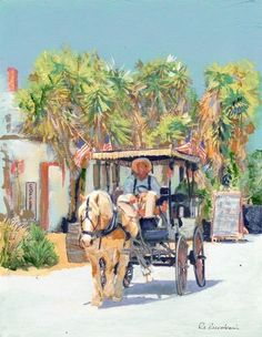 Holiday Ride on San Diego Avenue,acrylic painting on canvas by RD Riccoboni®, one of America's favorite cultural heritage artists.  From The Beacon Artworks Gallery Collection at Fiesta de Reyes in  Old Town San Diego State Historic Park.