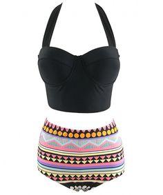 cfd31fce358 Two Piece Women Fashion Lace Up Geometrical Haler Strappy High Waist Bikini  Set - Black - CX17Y0M0E64