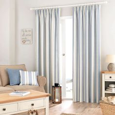 Padstow Blue Lined Pencil Pleat Curtains | Dunelm