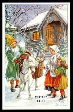 Vintage Curt Nyström Christmas Card ~ Orange Accents