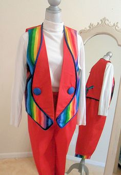 Rainbow Clown Costume Two Piece Suit by JazzieMenagerie on Etsy, $135.00