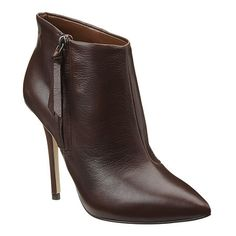 "Pointy toe bootie with full side zipper. Covered leather 4.5"" heel and 1/4"" hidden platform.  Leather upper.  This style is available exclusively @ Nine West Stores & ninewest.com."
