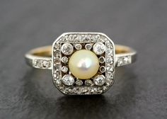 Antique Edwardian Ring Antique Pearl & Diamond by AlistirWoodTait