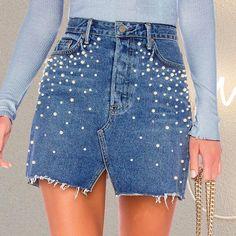 Casual Split Pearls Denim Women Button Skinny Diamond Mini S Denim Skirt Outfits, Jeans Dress, Denim Shorts, Jean Diy, Streetwear, Apple Bottom Jeans, Apple Dress, Jeans Rock, Casual Skirts