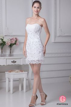 dbf12b1ca61a Fitted Simple Short Wedding Dresses Strapless Lace Satin Style With Beading  #OP4255 $128.9 - GemGrace.com