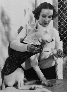 Dolores del Rio with her bull terrier, 1937