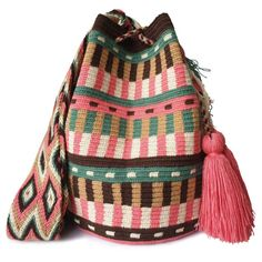 The stunning, one-of-a-kind Wayuu bag has been carefully crocheted by indigenous women from the desert of La Guajira, Colombia. Hard Work And Dedication, Tabata, Handmade Bags, You Bag, Fair Trade, Bucket Bag, Artisan, Tapestry, Handbags