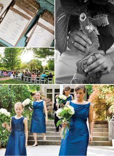 great blue w/ white hydrangeas - simply tied bouquets