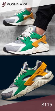 *Men's Nike Huarache Sz 10 -Brand New in Box *Without Lid* -100% Authentic -Excellent condition -Ships Double Boxed -Comes with Free mystery gift -Sz 10 (men's) Fresh out of the frying pan is the Nike Huarache Gold leaf/ Green pine shoe. This fall get in touch with the outdoors as this Huarache shoe will be the premier look for the fall season. As the leaves change color walk in step with nature and swag out with the green and gold. Nike Shoes Sneakers