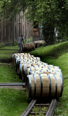 Freshly filled barrels of Woodford Reserve are moved to a storage warehouse at the Woodford Reserve Distillery near Versailles, Ky.