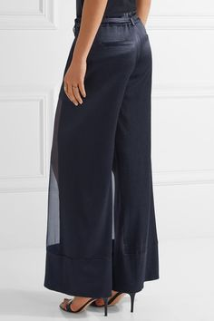 Haney - Lola Cloqué And Silk-organza Wide-leg Pants - Midnight blue - US10