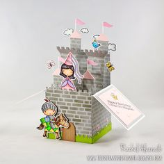 A fun birthday castle-themed pop-up box card using the Once Upon a Time and Knight in Shining Armor stamp sets by My Favorite Things.