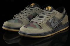 7c4b41ce4845 The Nike SB Dunk Low Camo (Style Code  is a military inspired Dunk Low Pro  that comes dressed in Medium Olive