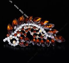 7.2x3.7cm Orange Trendy Peacock Tail Spread Paved Crystal Lady Pin Brooch Rhinestone  #eozy