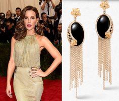 Kate Beckensale wears Carrera y Carrera earrings to the 2015 Met Gala