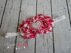 Hot Pink White Chevron Zebra with Heart Headband — Ready to Ship — Baby to Adult sizing available