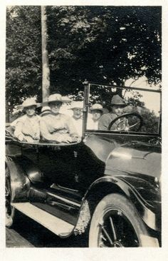 https://flic.kr/p/TwGxq8 | Six Hats And A Roadster | Unknown Group In Car : Scanned 3P Print