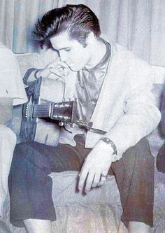 """In 1976, Elvis stated """"He still had stage fright right before every show"""" (shown here in San Diego, CA 1956)"""